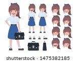 asian student in school uniform.... | Shutterstock .eps vector #1475382185