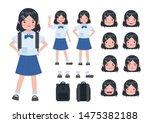 asian student in school uniform.... | Shutterstock .eps vector #1475382188