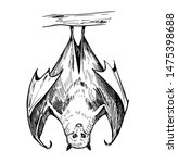 bat sketch. hand drawn... | Shutterstock .eps vector #1475398688