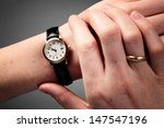 female hands checking the time... | Shutterstock . vector #147547196