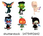 set of halloween characters.... | Shutterstock . vector #1475492642