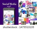 social media puzzle template... | Shutterstock .eps vector #1475513135