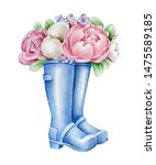 Flowers In Boots. Watercolor...