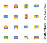 16 flat email icons pack in...