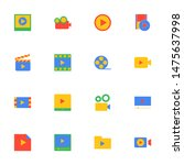 16 flat video icons pack in...