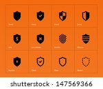 Shield icons on orange background. Vector illustration.