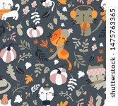 Seamless Pattern Of Cats...