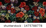 embroidery. red poppies and... | Shutterstock .eps vector #1475788778