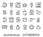coffee line icons. hot drink... | Shutterstock .eps vector #1475808542