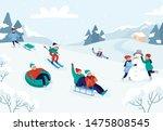 kids riding sledding slide.... | Shutterstock .eps vector #1475808545