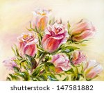 roses  oil painting on canvas | Shutterstock . vector #147581882