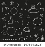 hand drawn signs on black.... | Shutterstock . vector #1475941625