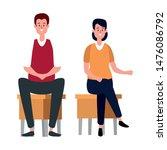 elegant business couple seated... | Shutterstock .eps vector #1476086792