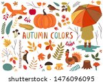 set of isolated autumn colorful ...   Shutterstock .eps vector #1476096095