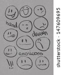 set of  hand drawn emoticons .... | Shutterstock .eps vector #147609695