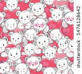 little white bears and hearts ... | Shutterstock . vector #1476128642