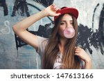 trendy beautiful long haired... | Shutterstock . vector #147613166