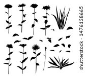 set of silhouette flowers daisy ... | Shutterstock .eps vector #1476138665