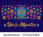 dia de los muertos card with... | Shutterstock .eps vector #1476165302