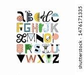 artistic vector alphabet set.... | Shutterstock .eps vector #1476171335
