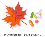 pills and red sad leaf.... | Shutterstock .eps vector #1476193742