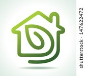 home icon with leaf vector... | Shutterstock .eps vector #147622472
