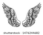 sketch of wings. hand drawn... | Shutterstock .eps vector #1476244682