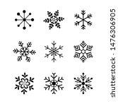 Set Of Black Snowflakes Icons...