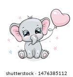 Stock vector elephant baby cute print sweet tiny one with ballon an star cool african animal illustration for 1476385112