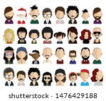 set of people avatars  icons in ... | Shutterstock .eps vector #1476429188