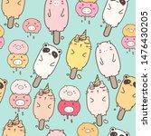 cute animal ice cream seamless... | Shutterstock .eps vector #1476430205