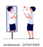 woman at mirror. mirrored happy ... | Shutterstock .eps vector #1476473345