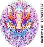 cute fox face over psychedelic... | Shutterstock .eps vector #1476558992