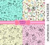 set of birthday pattern sketch... | Shutterstock .eps vector #1476623858