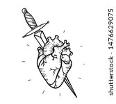 tattoo heart and sword and... | Shutterstock .eps vector #1476629075