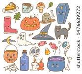 set of cute halloween doodles  | Shutterstock .eps vector #1476639272