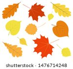 set of colorful autumn leaves... | Shutterstock .eps vector #1476714248