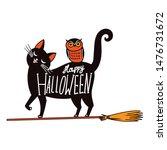 Halloween Witch Cat. Vector...