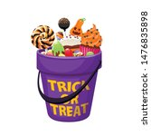 bucket with halloween sweets...   Shutterstock .eps vector #1476835898