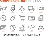 set of shopping online line... | Shutterstock .eps vector #1476844175