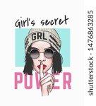 girl's secret power slogan with ... | Shutterstock .eps vector #1476863285