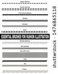 Brushes for fashion illustration. Single stitching, double stitching, thick thread stitching, zig-zag, overlock, chain, blanket stitching, rib, cord, zip and pucker.