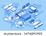 isometric global logistics... | Shutterstock .eps vector #1476891905