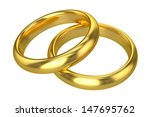 realistic wedding rings   gold | Shutterstock . vector #147695762