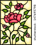 Red Roses And Bouton. Stained...