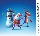 santa claus snowman and reindeer   Shutterstock .eps vector #1476974522