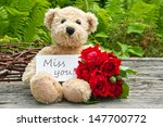 Teddy Bear With Red Roses  And...