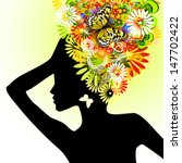 girl with flowers on her head.... | Shutterstock .eps vector #147702422