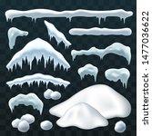 snow ice set winter roof cap... | Shutterstock .eps vector #1477036622