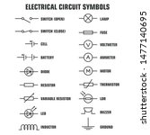 electronic circuit symbols icon.... | Shutterstock . vector #1477140695